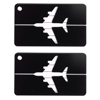 2PCS Aluminium Travel Luggage Tags Name Address ID Holder Label (Black) - intl Price Philippines