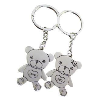 Fang Fang Stainless Steel Chain Bear Lovebirds Charm Key Ring (Silver) Price Philippines
