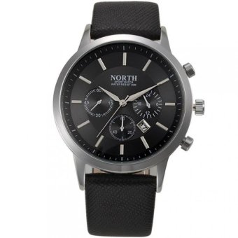 Harga Coconiey NORTH Luxury Mens Genuine Leather Band Analog Quartz Watches Wrist Watch Black
