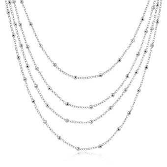 New MultiLayer Beaded Necklace Chain Jewelry - intl Price Philippines