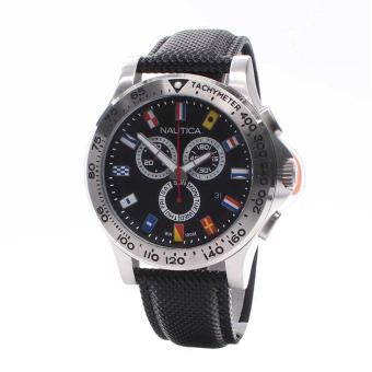 Harga Nautica Watch NST 600 Flag Black Stainless-Steel Case Leather Strap Mens NWT + Warranty A19595G