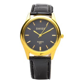 Harga SWISS Piedras men black/gold Leather Strap Watch ALL62