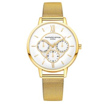 Lvpai Three Eyes Women Men Couples Lovers Mesh Belt Watch (Gold) - intl Price Philippines