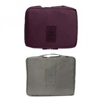 Portable Waterproof Multi-Pouch Travel Toiletry Cosmetic Bag Set Of 2 (Maroon,Gray) Price Philippines