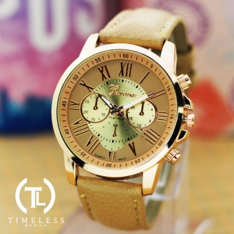 Geneva Kathy Roman Numeral Leather Watch (Beige) Price Philippines