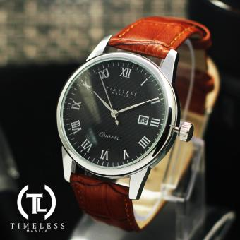 Timeless Manila George Datejust Roman Numeral Leather Watch (Black/Mapple) Price Philippines