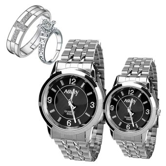 Harga NARY Lovers Couple Black/Silver Stainless Steel Strap Watch 6063 With PY-1 Opened Couple Rings