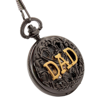 ooplm Antique DAD FOB Pocket Watch Necklace hollow mechanical man father's Day gift P289 ECS002254 (Black) Price Philippines