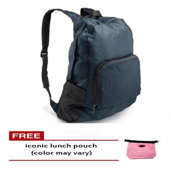 Harga Foldable Bag Pack (Navy Blue) free Iconic Lunch Pouch (Color May Vary)
