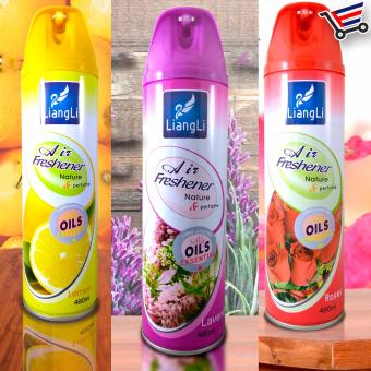 Harga LiangLi Air Freshener Spray with Oil Essential 480mL Set of 3 (Lavander,Roses,Lemon)