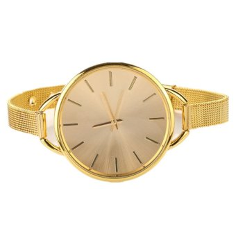 Harga Gold Girls Women Ladies Analog Stainless Quartz Bracelet Wrist Watch (Gold)