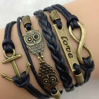 Chic Night Owl Embellished Letter Bracelet For Men and Women black (Intl) Price Philippines