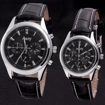 Harga Nary Leather Strap Couple Watch NR6098-1 (Black/Black)