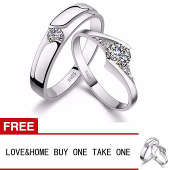 Harga LOVE&HOME Romantic 925 Sterling Silver Zircon Diamond Lover Couple Rings Buy One Take One
