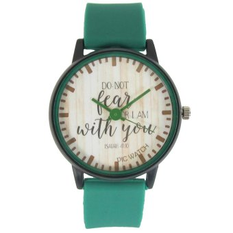 Harga PIC Watch Do Not Fear For I Am With You Green Silicone Strap Watch