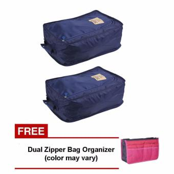 Harga Foldable Travel Shoe Organizer (Navy Blue) Set of 2 with Free Dual Zipper Bag (Color May Vary)