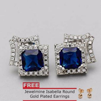 Jewelmine Arrow Blue Sapphire Cubic Zircon Earrings (silver) With Free Isabella Round Earrings Price Philippines