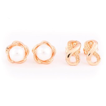 Harga Piedras Two in One Infinity and Pearl Earrings (Gold)