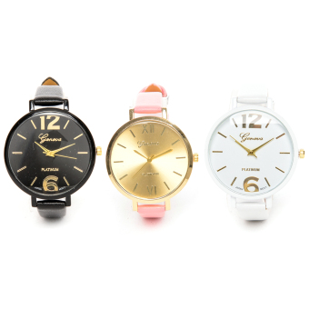 Slim Chick Leather Strap Watch set of 3 (Black/Pink/White) Price Philippines