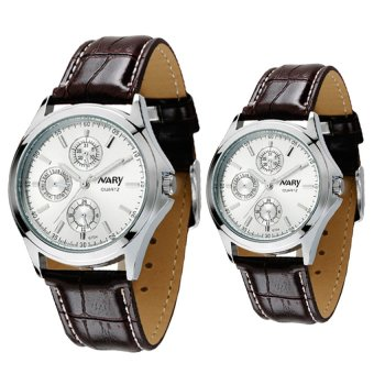 Harga NARY Couple's Digital Leather Strap Quartz Watch C-NR-6104-White Leather
