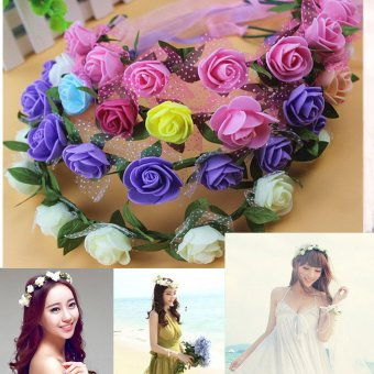 Harga Artificial Rose Hairband 9 Pieces Rose With Lace For Wedding Bridal - intl