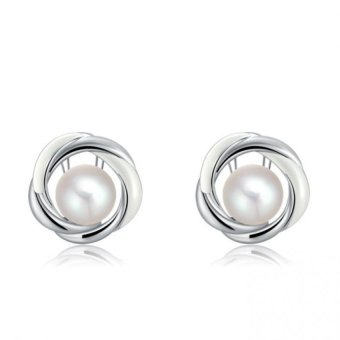 Harga Plating Pearl Stud Earrings Women Earrings Jewelry(White+White Gold) - INTL