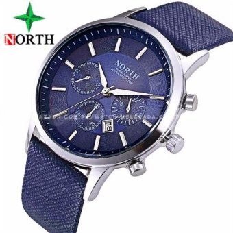 Harga North Men's Premium Chronograph Style Crocodile Design Blue Leather Strap Watch