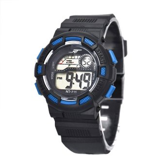 Harga Waterproof Children Boy Digital LED Quartz Alarm Date Sports Wrist Watch Blue