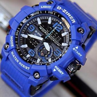 Harga D-ZINER DZ-8143 Dual Time Men's Sports Analog Digital Watch (BLUE)