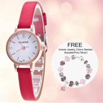 CWL Slim Chick Leather Strap Watch (Red) with FREE Victoria Jewelry Charm Beaded Bracelet(Pink/Silver) Price Philippines