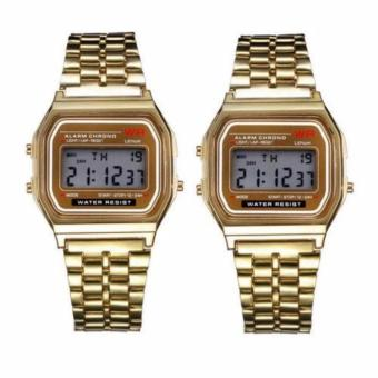 Harga Landfox Women's Gold Stainless Steel Strap Watch Set of 2