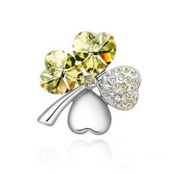 J032 New 4 Leaf Four Leaf Clover Crystal Special Heart Love Brooch Yellow - Intl Price Philippines