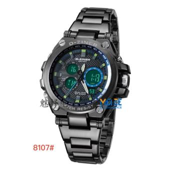 Harga D-ZINER AK-8107 Stainless Strap Sport Watch (Black+Blue)