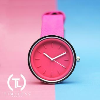 Timeless Manila Round Colored Denim Leather Watch (Pink) Price Philippines
