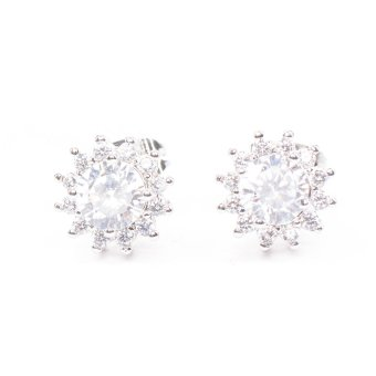 Harga Piedras APL42 Cubic Zirconia Earrings (WHITE GOLD)
