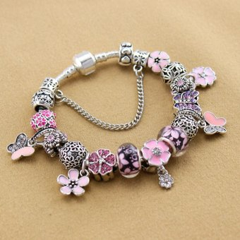 Harga Rising Star Europe and the United States trendy 925 Silver Pandora charm bracelet crystal bracelet B17004