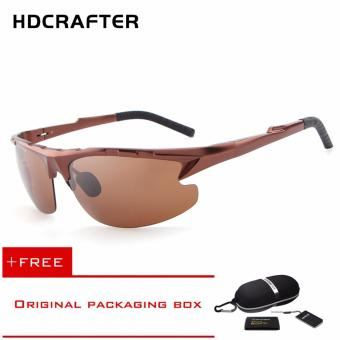 Harga HDCRAFTER 68 Men Sunglasses Polarized UV400 Protect Outdoor Eyewer (Brown)