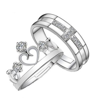 Crown and Cross Diamond Promise Ring Set Pair for Lovers Couple Rings for Women Men(silver) Price Philippines