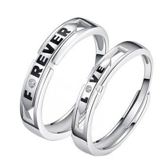 Forever Love Silver Crystal Couple Rings His and Hers Promise Wedding Ring Price Philippines