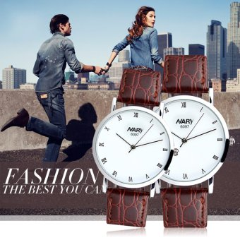 Harga NARY 6097 Couple's Brown Leather Strap Wristwatch With Roman Numerals