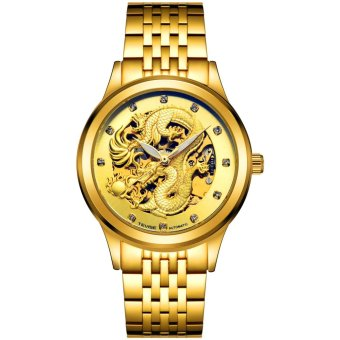 Harga Automatic Mechanical Men's Watches Waterproof Luminous Wrist Watch Gold Dragon Watch - intl
