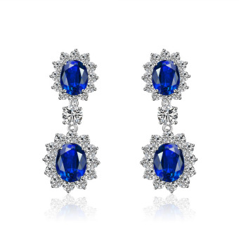 Princess Diana Style Classic Earrings Sapphire Created Gemstone 925 Sterling Silver Jewelry Price Philippines