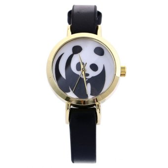 Harga Panda Faux Leather Band Analog Quartz Wrist Watch Black