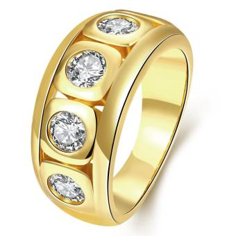 ZUNCLE Italy Imports Gold-plated 18K gold Diamond Ring (Gold)-US Size :8 Price Philippines