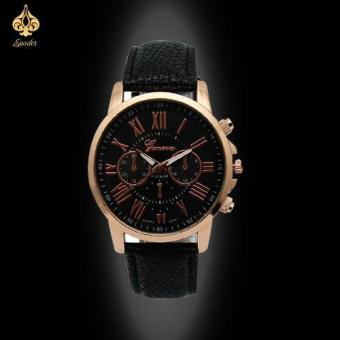 Geneva's Women Roman Black Leather Strap Watch Price Philippines