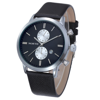 Harga Bigskyie Fashion Men Casual Waterproof Date Leather Military Japan Watch Gift Black - Intl