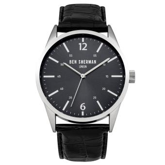 Harga Ben Sherman Men Black Leather Strap Analog Watch WB060BBA