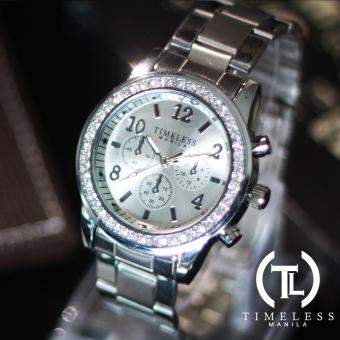 Timeless Manila Charlotte Crystal Studded Chrono Metal Watch (Silver) Price Philippines