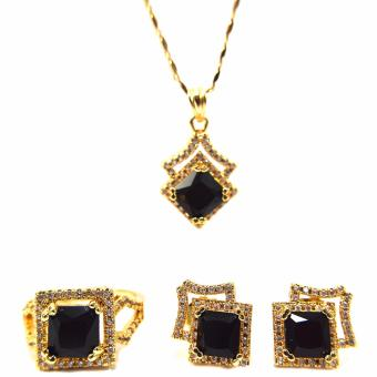 Jewelmine Arrow Onyx Cubic Zircon Jewelry Set (gold) Price Philippines