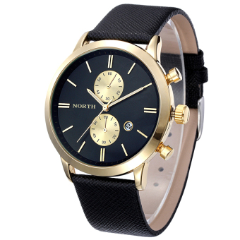 Harga Bigskyie Fashion Men Casual Waterproof Date Leather Military Japan Watch Gift Black Gold - Intl